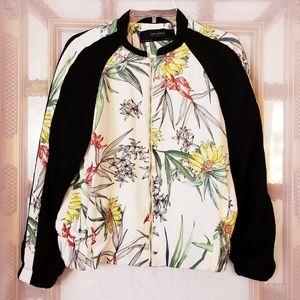 Zara Collection Floral Print Zip Bomber Jacket